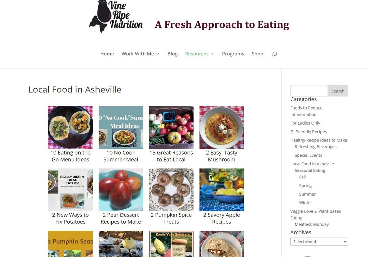 Vine Ripe Nutrition Recipe index